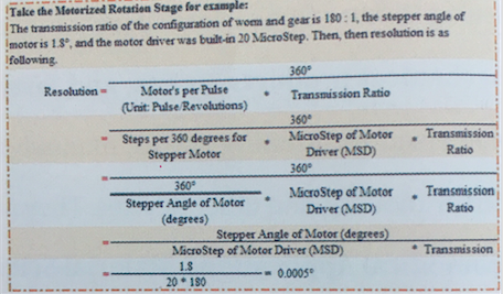 resolution for motorized rotating stage
